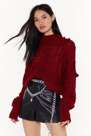 Nasty Gal Burgundy Pom Pom With the Wind Cable Kni