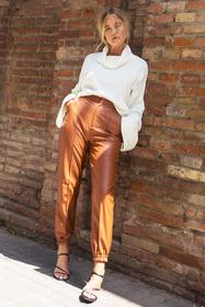 Nasty Gal Tan Seams Like Heaven Faux Leather Jogge
