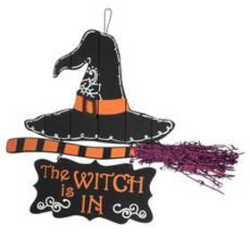 National Tree 16in. The Witch is In Wood Wall Sign