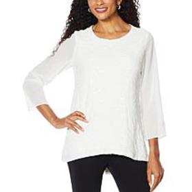 Slinky® Brand 3/4-Sleeve Embroidered Sequin Tunic