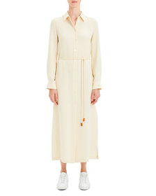 Theory Belted Classic Crepe Long Shirtdress