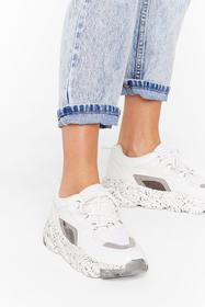 Nasty Gal White Paint the Picture Chunky Sneakers