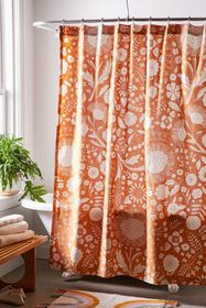 Shelby Woodblock Floral Shower Curtain