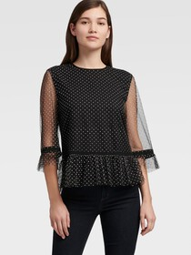 Donna Karan POLKA DOT TOP WITH RUFFLE HEM