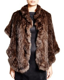 Maximilian Furs - Knitted Sable Stole with Ruffled