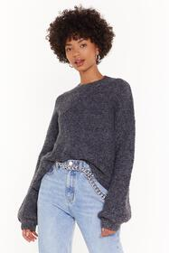 Nasty Gal Black Do You Be-Sleeve Relaxed Sweater
