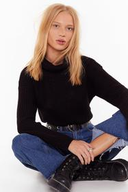 Nasty Gal Black Turn Knit On Turtleneck Cropped Sw
