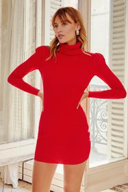 Nasty Gal Red Puff Act to Follow Turtleneck Mini D
