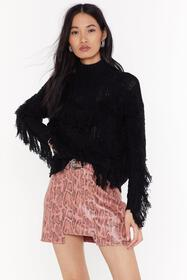 Nasty Gal Black Make Sway Cable Knit Fringe Sweate
