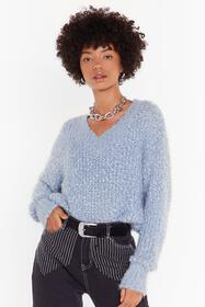 Nasty Gal Blue Knit Right In V-Neck Sweater