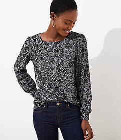 Floral Jacquard Cutout Back Top