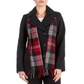 LONDON FOG Petite Wool Blend Coat with Scarf