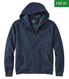 LL Bean Athletic Sweats, Hooded Full-Zip, Flannel-