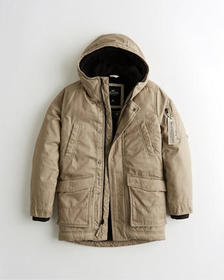 Hollister Sherpa-Lined Military Parka, LIGHT BROWN