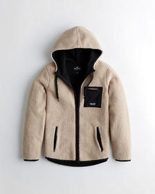Hollister Sherpa Full-Zip Hoodie, LIGHT BROWN