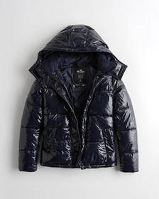 Hollister Wet-Look Puffer Jacket, NAVY