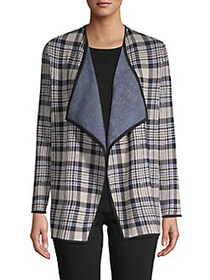 JONES NEW YORK Plaid Open-Front Jacket PEBBLE HEAT