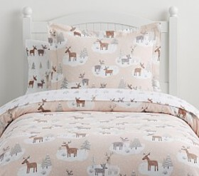 Pottery Barn Organic Flannel Winter Reindeer Duvet