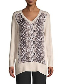 JONES NEW YORK Printed V-Neck Sweater PEBBLE HEATH