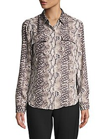 JONES NEW YORK Snakeskin-Print Shirt CHARCOAL SNAK