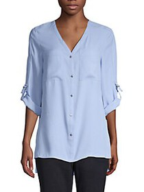 JONES NEW YORK High-Low Button-Front Top LIGHT WED