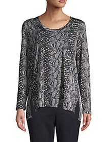 JONES NEW YORK Snake-Print Step Hem Top BLACK SNAK