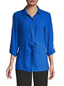 JONES NEW YORK Twist-Front High-Low Shirt BRIGHT S