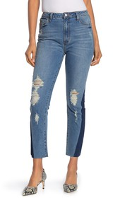 RACHEL ROY COLLECTION High-Rise Contrast Distresse