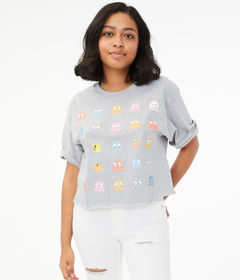Aeropostale Pac-Man Cropped Graphic Tee