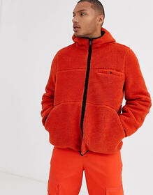 ASOS DESIGN teddy reversible jacket in orange