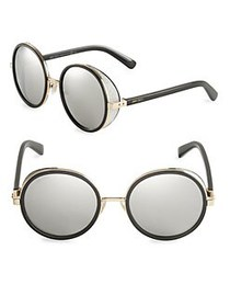 Jimmy Choo 54MM Andie Glitter-Trim Round Sunglasse