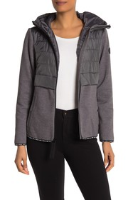 MICHAEL Michael Kors Hooded Quilted Knit Zip Front