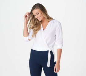 Side Stitch 3/4-Sleeve Cropped Wrap Top - A368169