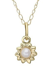 Lord & Taylor Kid's White Pearl and 14K Yellow Gol
