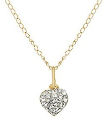 Lord & Taylor Kid's Crystal and 14K Yellow Heart N