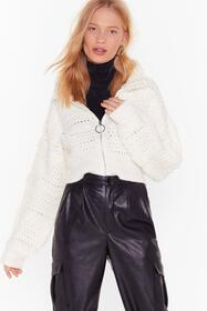 Nasty Gal Ecru Keep Us in the Loop Shaggy Cropped