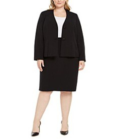 Plus Size Jeweled-Button Skirt Suit