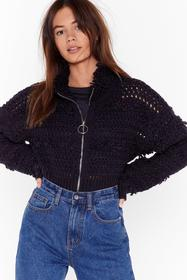 Nasty Gal Black Keep Us in the Loop Shaggy Cropped