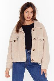 Nasty Gal Cream Where Fur You Faux Shearling Shirt