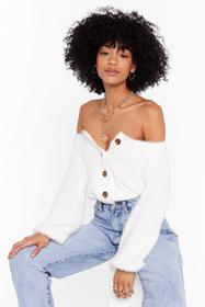 Nasty Gal Cream Knit's Your Thing V-Neck Cardigan
