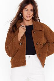 Nasty Gal Tan Where Fur You Faux Shearling Shirt J