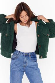 Nasty Gal Green Where Fur You Faux Shearling Shirt