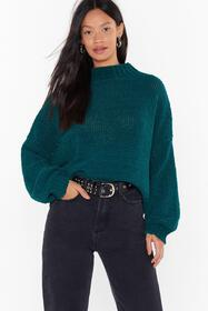 Nasty Gal Teal chunky stitch oversized jumper