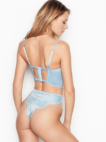 Victoria Secret Satin Lace Thong-Back Panty