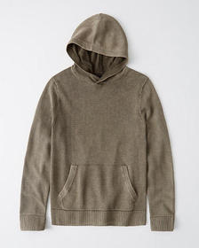 Garment Dyed Sweater Hoodie, OLIVE GREEN