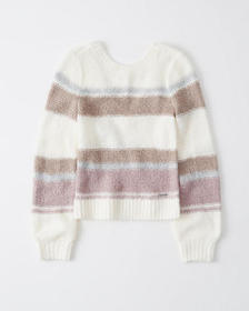 V-Back Sweater, CREAM STRIPE