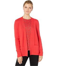 Jones New York Open Front Cardigan with Rib Placke