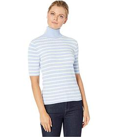 Jones New York Striped Elbow Sleeve Turtleneck wit