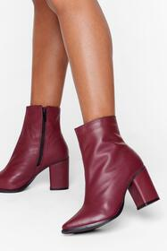 Nasty Gal Burgundy Leather You Like It Heeled Ankl
