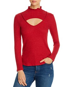 Red Haute - Ruffled Cutout Top